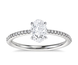 BN Petite Micropavé Diamond Engagement Ring 4 - Oval Engagement Rings