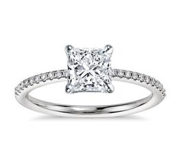BN Petite Micropavé Diamond Engagement Ring 5 - Princess cut engagement rings