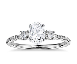 BN Petite Micropavé Trio Diamond Engagement Ring 2 - Oval Engagement Rings