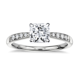 Petite Milgrain Radiant Diamond Engagement Ring