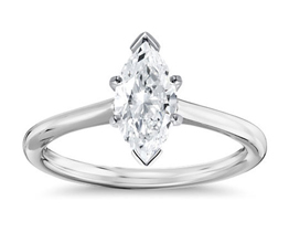 Petite solitaire marquise diamond engagement ring