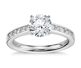 BN Princess Cut Channel Set Diamond Engagement Ring 2 - Round Engagement Rings