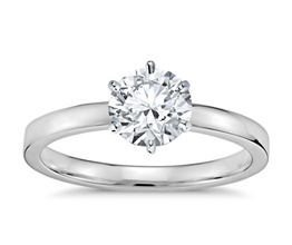 BN Six Prong Low Dome Comfort Fit Solitaire Engagement Ring - Round Engagement Rings