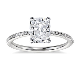 Slim pavé cushion cut diamond engagement ring