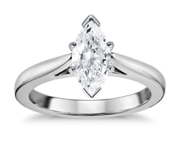 Tapered Cathedral Solitaire Marquise Diamond Engagement Ring