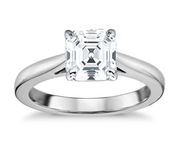 BN Tapered Cathedral Solitaire Engagement Ring - Asscher cut engagement rings