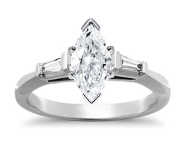 Tapered baguette three stone engagement ring