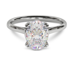 'Bowery' double prong oval diamond solitaire engagement ring