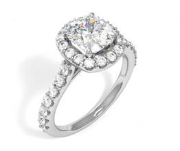 'Lafayette' cushion cut diamond engagement ring