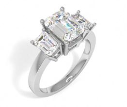 Tribeca three stone emerald diamond engagement ring