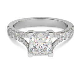 'Whitehall' split shank princess cut diamond engagement ring