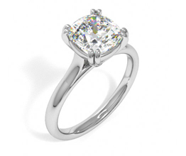 'Bowery' double prong cushion cut diamond engagement ring