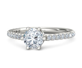 G round diamond palladium ring with diamond 1 - Solitaire engagement rings