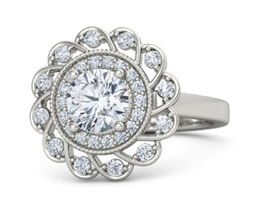 Sunflower halo palladium engagement ring