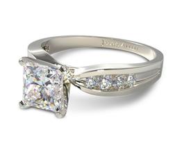 JA Bow tie channel set princess cut diamond engagement ring - Princess cut engagement rings