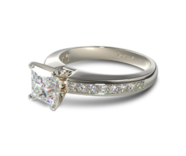 JA Channel set princess cut diamond engagment ring - Princess cut engagement rings