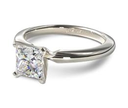Comfort fit princess cut diamond solitaire engagement ring