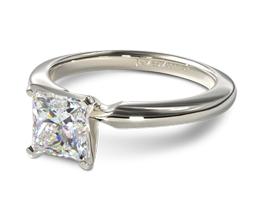 JA Comfort fit princess cut diamond solitaire engagement ring - Princess cut engagement rings
