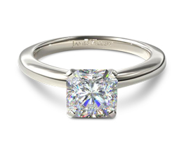 Comfort fit solitaire radiant cut engagement ring