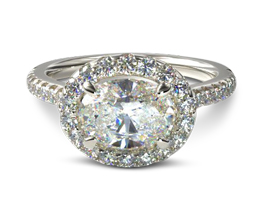 East west oval diamond halo engagement ring