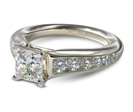 JA Graduated channel set princess cut diamond engagement ring - Princess cut engagement rings