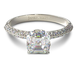 Knife edge lotus basked pavé asscher diamond engagement ring