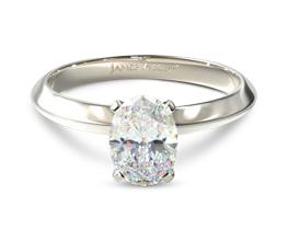 Knife edge oval diamond solitaire diamond engagement ring