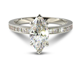 Marquise channel set diamond ring with princess cut side stones
