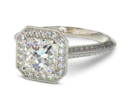 Octagon halo vintage princess cut engagement ring