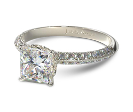 Pavé knife edge princess cut diamond engagement ring