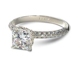 JA Pave knife edge princess cut diamond engagement ring - Princess cut engagement rings