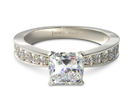 Perfect Pavé cushion cut diamond engagement ring (0.24 carat in setting)