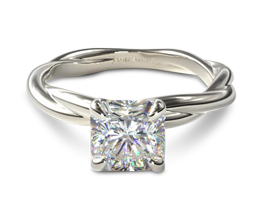 Radiant solitaire engagement ring with rope band