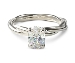 Rope band oval diamond solitaire engagement ring