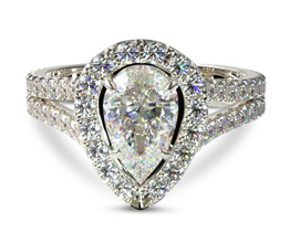 Split band halo pear diamond engagement ring