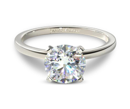 JA Slim band solitaire round diamond engagement ring - Solitaire engagement rings