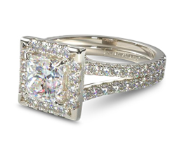 Split band pavé halo princess cut diamond engagement ring