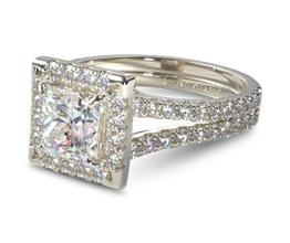 JA Split band pave halo princess cut diamond engagement ring - Princess cut engagement rings
