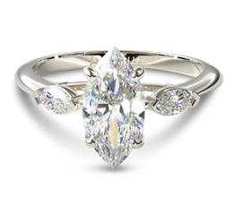 Three stone marquise diamond engagement ring