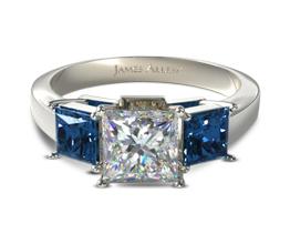 JA Three stone princess engagement ring with sapphire side stones - Princess cut engagement rings