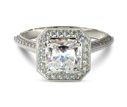 Vintage style octagonal halo cushion cut diamond engagement ring (0.32 carats in setting)