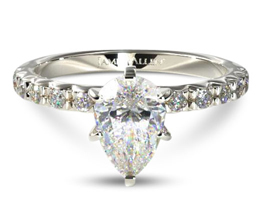 French cut pear diamond engagement ring with 0.32 carats