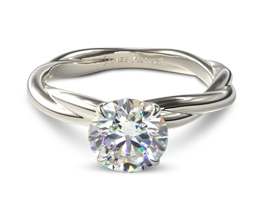 JA Woven Rope Band Solitaire Diamond Engagement Ring - Round Engagement Rings