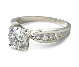 Bow tie channel set engagement ring