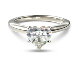 Comfort fit five prong heart solitaire diamond ring