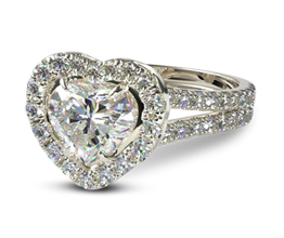 Split shank heart diamond halo engagement ring
