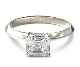 JA knife edge asscher solitaire engagement ring - Asscher cut engagement rings