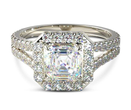 Split band asscher halo engagement ring