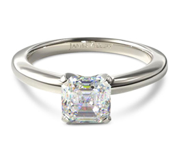 JA tapered asscher solitaire engagement ring - Asscher cut engagement rings