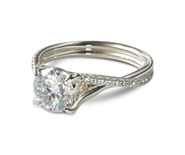 Twisted shank pavé engagement ring